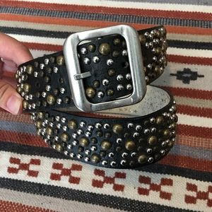 Nine West Studded Leather Belt, Medium